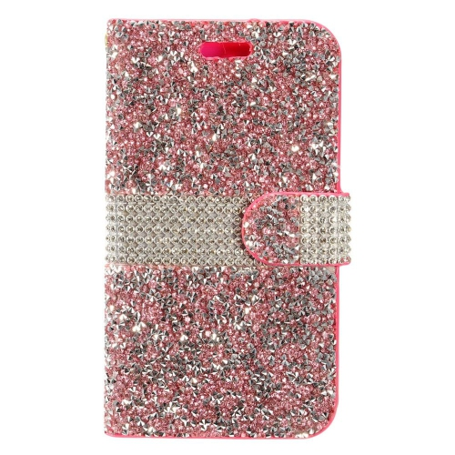 Insten Flip Leather Rhinestone Cover Case w/card holder For HTC Desire 530, Hot Pink/Silver