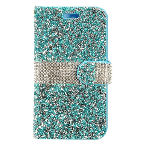 Insten Folio Leather Bling Cover Case w/card slot For HTC Desire 530, Blue/Silver