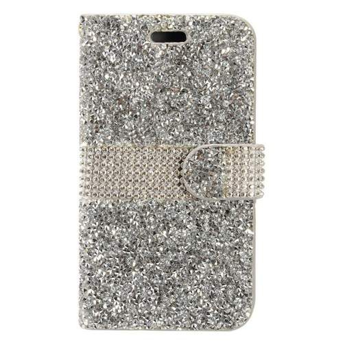 Insten Flip Leather Bling Cover Case w/card slot For HTC Desire 530, Silver
