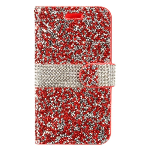 Insten Book-Style Leather Diamond Cover Case w/card holder For HTC Desire 530, Red/Silver