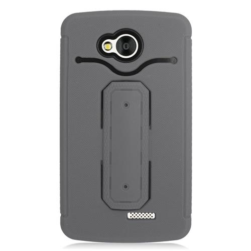 Insten Gel Dual Layer Rubber Hard Case w/stand For LG Tribute, Gray/Black