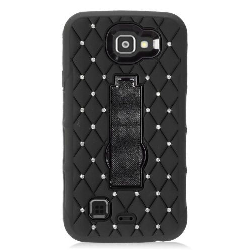 Insten Gel Dual Layer Rubber Hard Cover Case w/stand/Diamond For LG Optimus Zone 3/Spree, Black