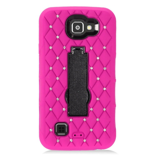 Insten Rubber Hybrid Hard Case w/stand/Diamond For LG Optimus Zone 3/Spree, Hot Pink/Black