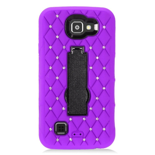 Insten Skin Hybrid Rubber Hard Cover Case w/stand/Diamond For LG Optimus Zone 3/Spree, Purple/Black