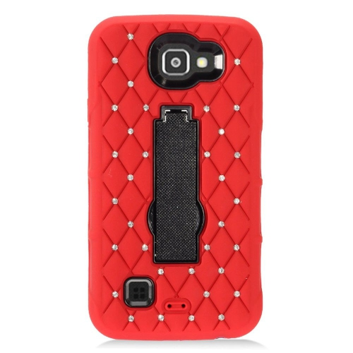 Insten Soft Hybrid Rubber Hard Cover Case w/stand/Diamond For LG Optimus Zone 3/Spree, Red/Black