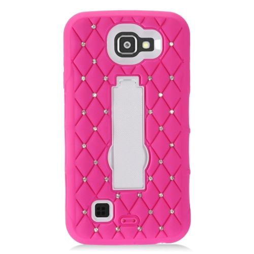 Insten Skin Dual Layer Rubber Hard Case w/stand/Diamond For LG Optimus Zone 3/Spree, Hot Pink/White