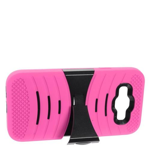 Insten Skin Hybrid Rubber Hard Cover Case w/stand For Samsung Galaxy E5, Hot Pink/Black