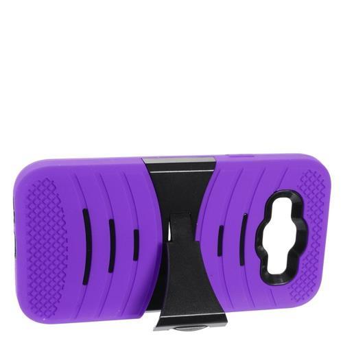 Insten Rubber Dual Layer Hard Cover Case w/stand For Samsung Galaxy E5, Purple/Black