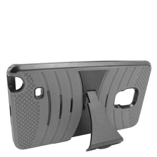 Insten Gel Dual Layer Rubber Hard Case w/stand For Samsung Galaxy Note Edge, Gray/Black