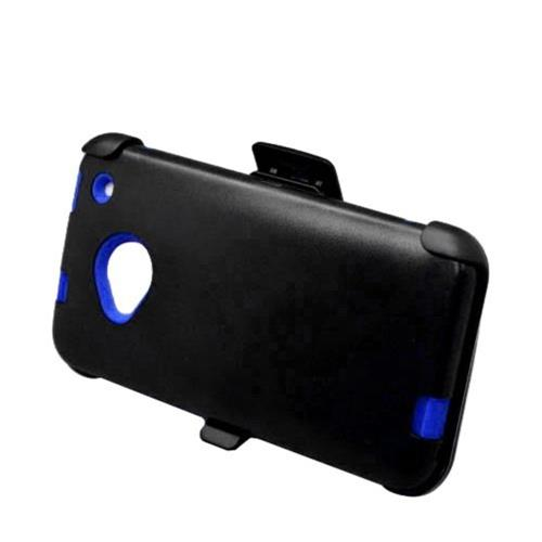 Insten Hard Dual Layer Rubber Coated Silicone Case w/Holster For HTC One M7, Black/Blue