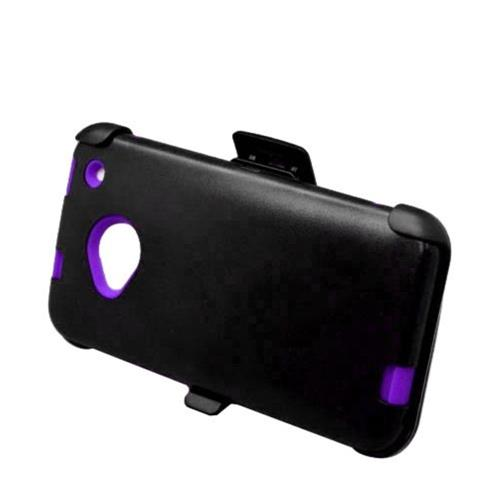 Insten Hard Dual Layer Silicone Case w/Holster For HTC One M7, Black/Purple