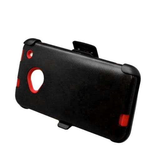 Insten Hard Hybrid Rubberized Silicone Cover Case w/Holster For HTC One M7, Black/Red