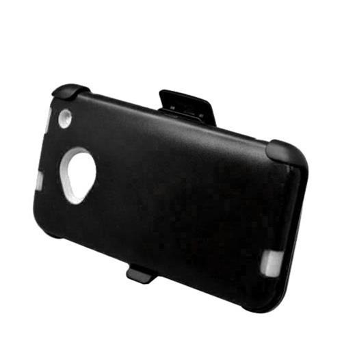 Insten Hard Hybrid Rubber Coated Silicone Case w/Holster For HTC One M7, Black/White