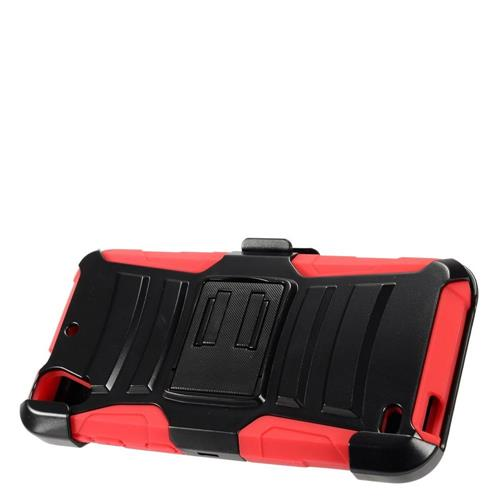 Insten Armor Hard Hybrid Plastic Silicone Case w/stand/Holster For HTC Desire 530, Black/Red