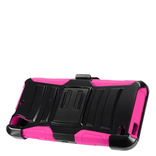 Insten Armor Hard Hybrid Plastic Silicone Case w/stand/Holster For HTC Desire 530, Black/Hot Pink