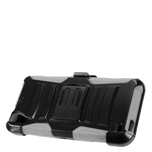Insten Armor Hard Dual Layer Plastic Silicone Case w/stand/Holster For HTC Desire 530, Black/Gray