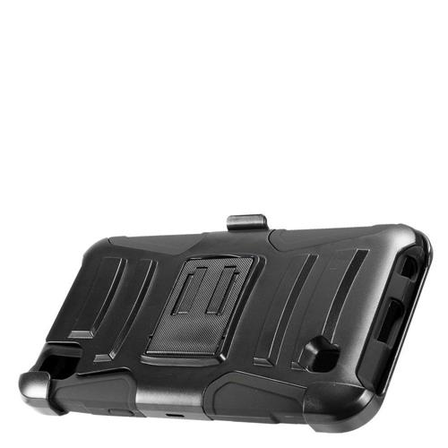 Insten Advanced Armor Hard Dual Layer Plastic Silicone Case w/stand/Holster For LG X Power, Black