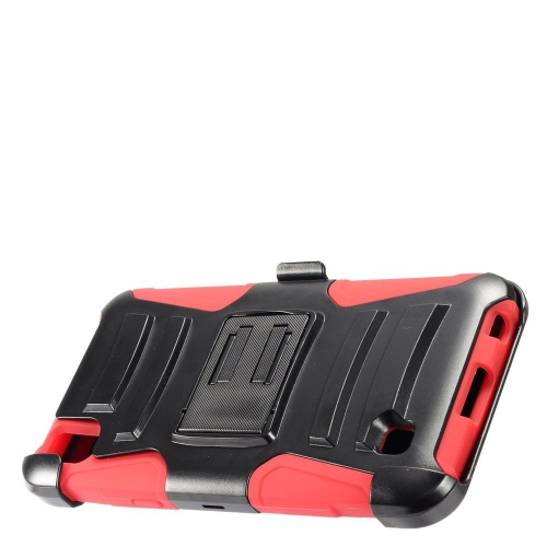 Insten Advanced Armor Hard Hybrid Plastic Silicone Case w/stand/Holster For LG X Power, Black/Red