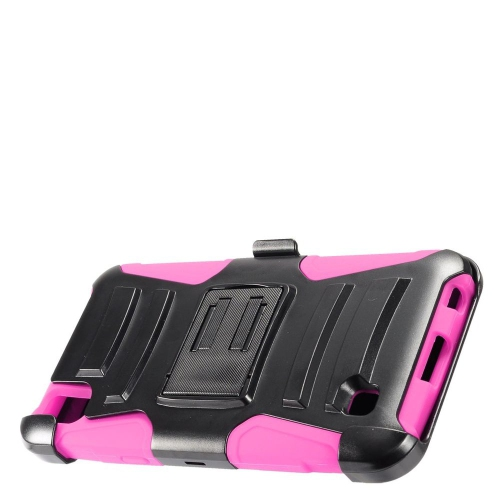 Insten Armor Hard Dual Layer Plastic Silicone Case w/stand/Holster For LG X Power, Black/Hot Pink