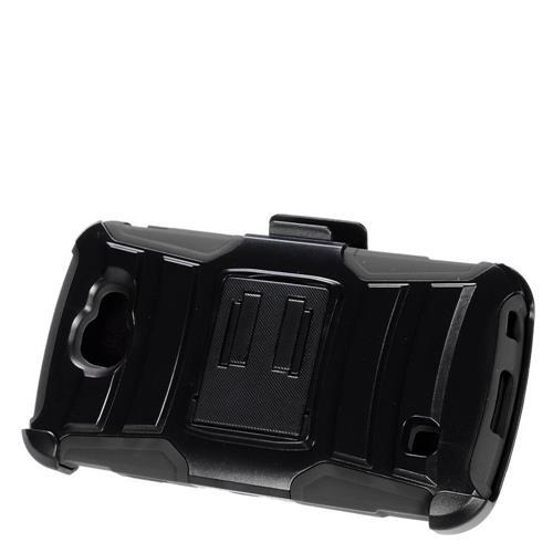 Insten Advanced Armor Hard Hybrid Plastic Silicone Case w/stand/Holster For LG K3 (2016), Black