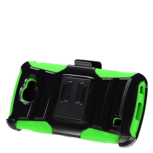 Insten Armor Hard Hybrid Plastic Silicone Case w/stand/Holster For LG K3 (2016), Black/Green
