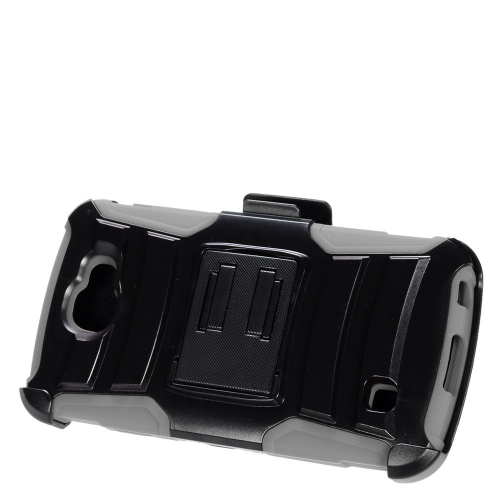 Insten Armor Hard Hybrid Plastic Silicone Case w/stand/Holster For LG K3 (2016), Black/Gray