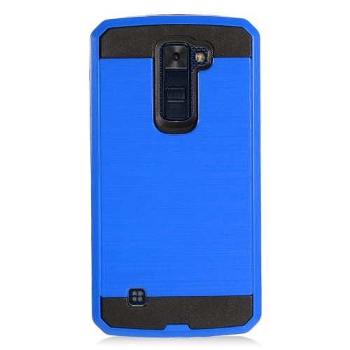 Insten Chrome Hybrid Brushed Hard Case For LG K10 (2016), Blue/Black