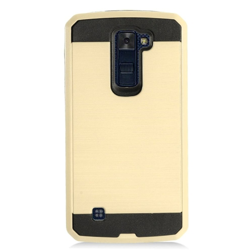 Insten Chrome Dual Layer Brushed Hard Cover Case For LG K10 (2016), Gold/Black