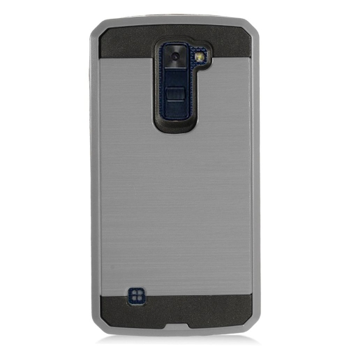 Insten Chrome Dual Layer Brushed Hard Case For LG K10 (2016), Gray/Black