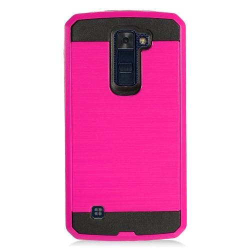 Insten Chrome Hybrid Brushed Hard Case For LG K10 (2016), Hot Pink/Black