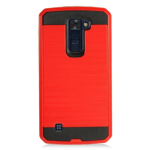 Insten Chrome Hybrid Brushed Hard Cover Case For LG K10 (2016), Red/Black