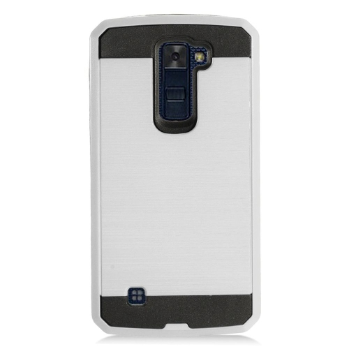 Insten Chrome Hybrid Brushed Hard Cover Case For LG K10 (2016), Silver/Black