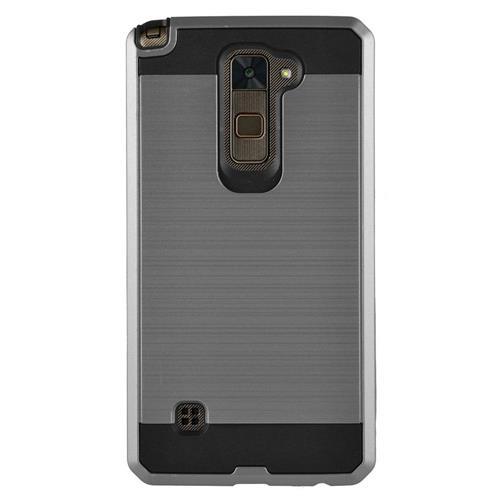 Insten Chrome Hybrid Brushed Hard Case For LG Stylo 2/Stylus 2, Gray/Black