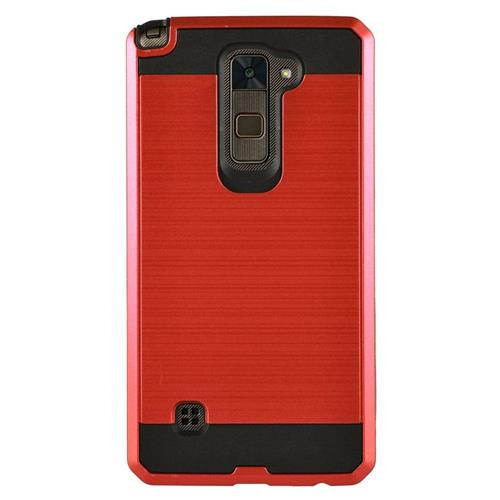 Insten Chrome Dual Layer Brushed Hard Cover Case For LG Stylo 2/Stylus 2, Red/Black