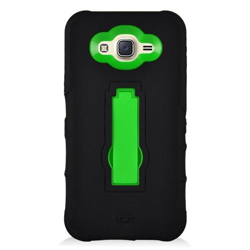 Insten Symbiosis Rubber Hard Cover Case w/stand For Samsung Galaxy J7 (2015), Black/Green