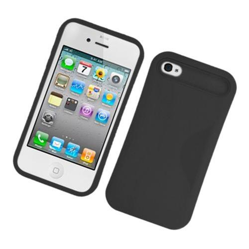 Insten Night Glow Hard Jelly Silicone Case For Apple iPhone 4/4S, Black