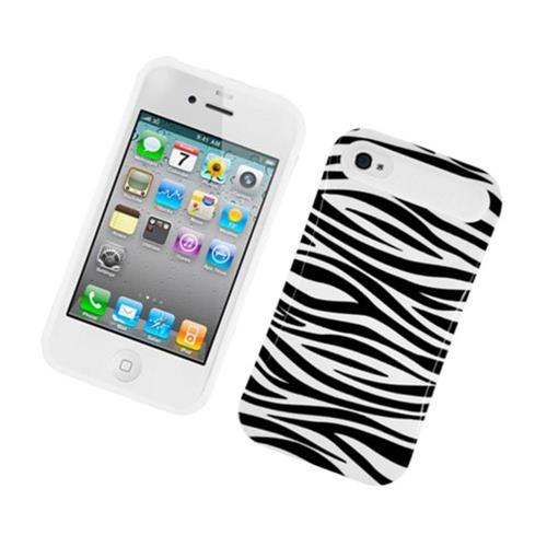 Insten Night Glow Zebra Hard Jelly Silicone Case For Apple iPhone 4/4S, Black/White
