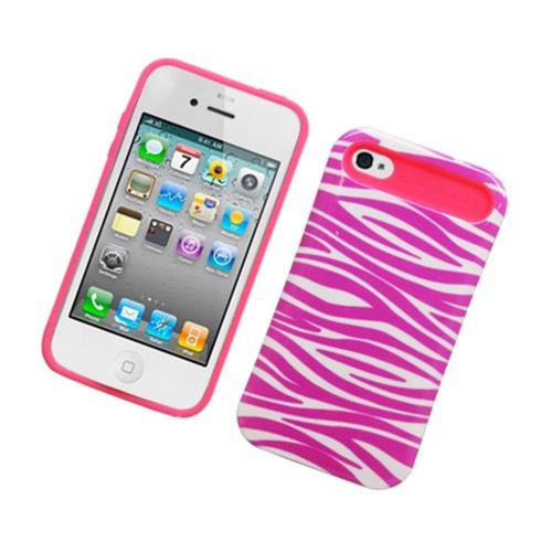 Insten Night Glow Zebra Hard Jelly Silicone Case For Apple iPhone 4/4S, Hot Pink/White