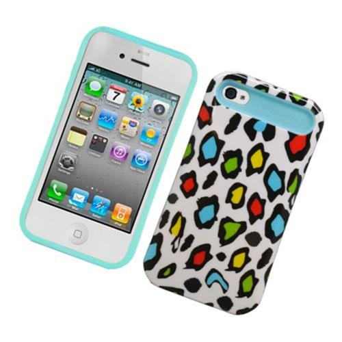 Insten Night Glow Leopard Hard Jelly Silicone Case For Apple iPhone 4/4S, Colorful/Blue