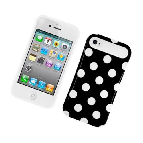 Insten Night Glow Polka Dots Hard Jelly Silicone Cover Case For Apple iPhone 4/4S, Black/White