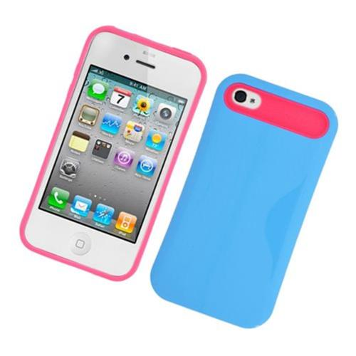 Insten Night Glow Hard Jelly Silicone Case For Apple iPhone 4/4S, Blue/Hot Pink
