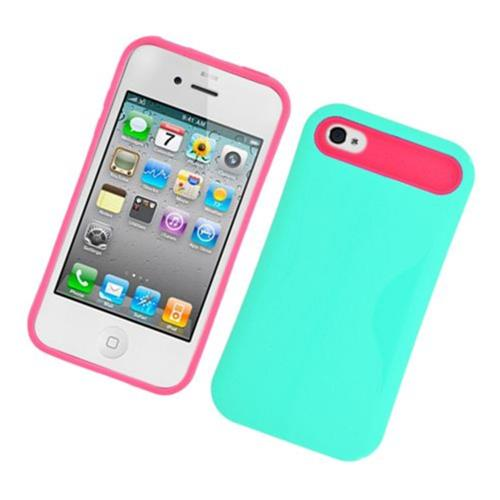 Insten Night Glow Hard Jelly Silicone Case For Apple iPhone 4/4S, Green/Hot Pink