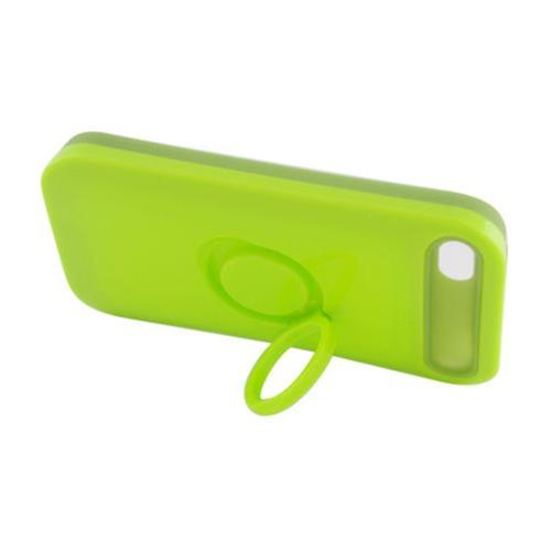 Insten Night Glow Hard Jelly Silicone Case w/Ring stand For Apple iPhone 4/4S, Neon Green