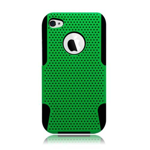 Insten Mesh Hard Hybrid TPU Cover Case For Apple iPhone 4/4S, Green/Black