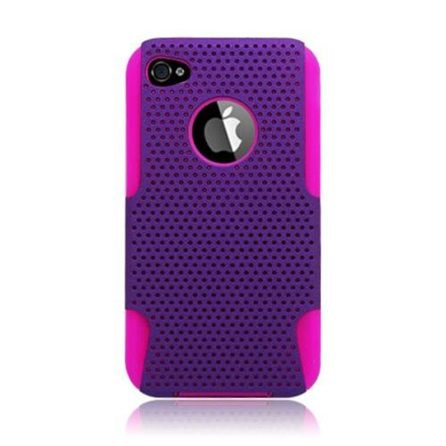 Insten Mesh Hard Dual Layer TPU Cover Case For Apple iPhone 4/4S, Purple/Hot Pink