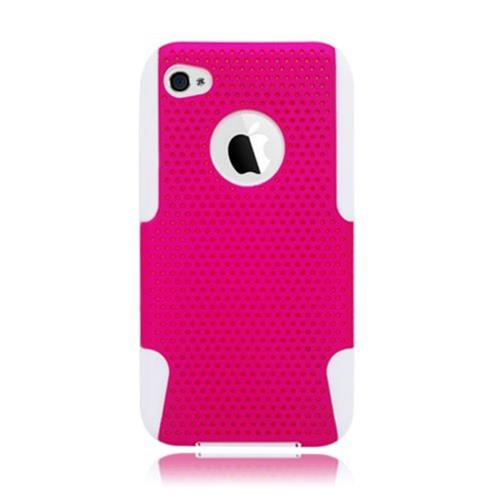 Insten Mesh Hard Dual Layer TPU Case For Apple iPhone 4/4S, Hot Pink/White
