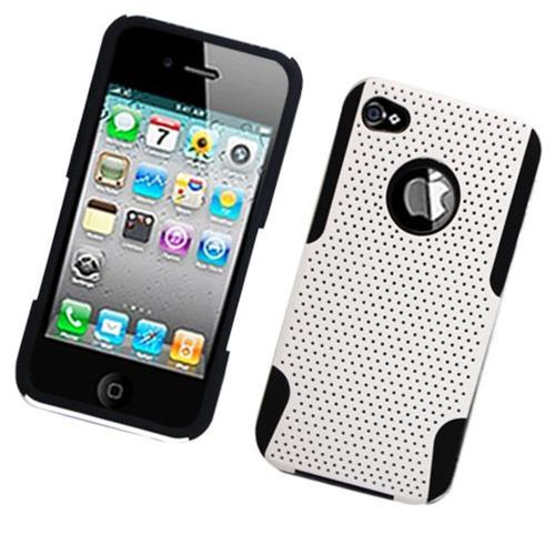 Insten Mesh Hard Dual Layer TPU Case For Apple iPhone 4/4S, White/Black