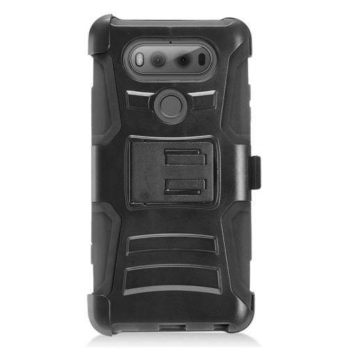 Insten Advanced Armor Hard Dual Layer Plastic Silicone Cover Case w/stand/Holster For LG V20, Black