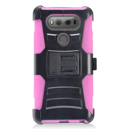 Insten Advanced Armor Hard Hybrid Plastic Silicone Case w/stand/Holster For LG V20, Black/Hot Pink