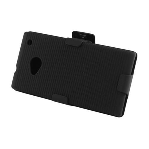 Insten Hard Rubberized Case w/Holster For HTC One M7, Black